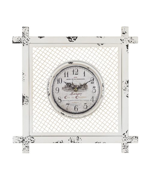 """14"""" Wall Clock in Distressed White"""