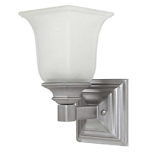 Capital Lighting 1-Light Sconce in Matte Nickel-Acid-Washed Glass