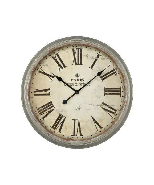 """Chateau De Montautre 24"""" Wall Clock in Salvaged Metal"""