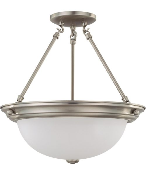 """Frosted White 15"""" 3 Light Semi Flush Mount in Brushed Nickel"""