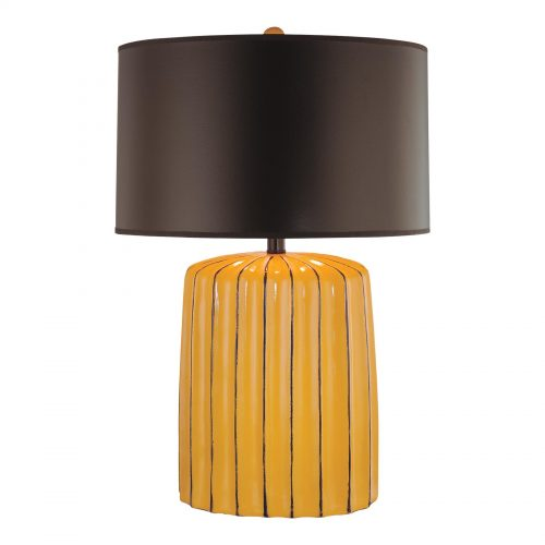 Minka Lavery Ambience 1-Light Table Lamp in Yellow with Chocolate