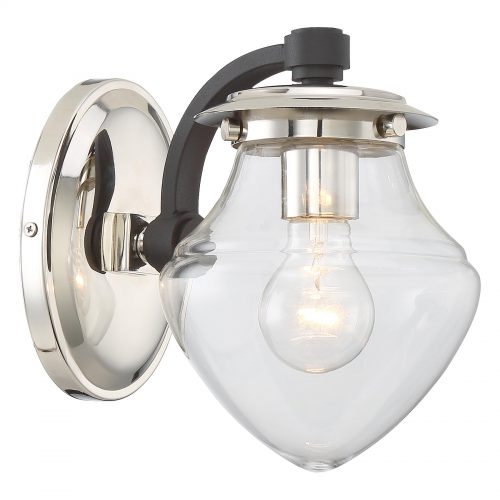 Minka Lavery The Cape 1-Light Bath in Polished Nickel with Black Highlights