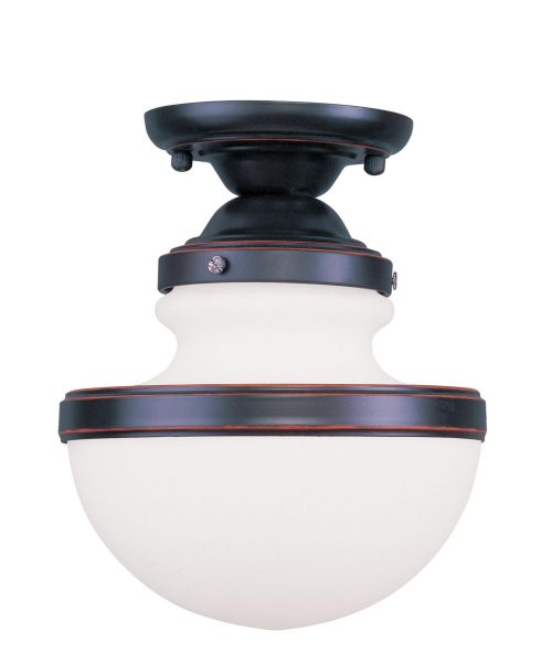 Livex Lighting Oldwick 8 Inch Wide Semi Flush Mount Livex Lighting - 5721-67 - Traditional Semi Flush Mount